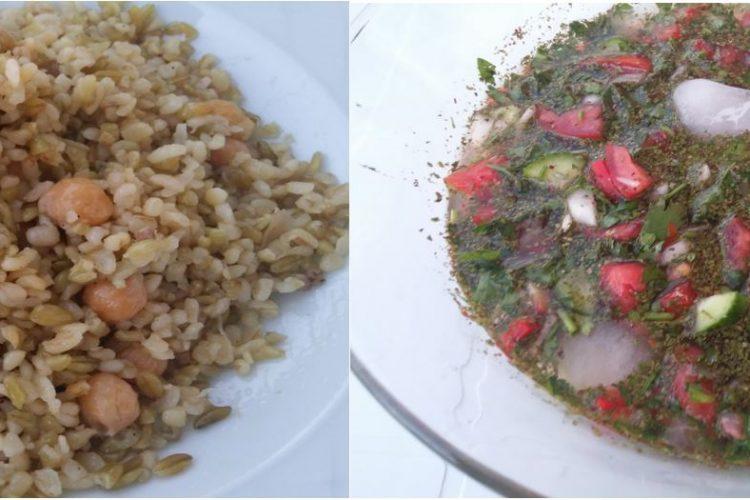 pilav ve salata 750x500 - Firikli Pilav ve Sulu Salata Tarifi